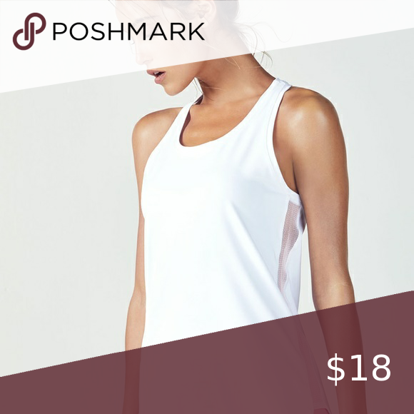 Fabletics Karlie Tunic White Tank Top W Mesh Side Sold Out Fabletics Hopes To Flatter Your Figure In Our Longline Perform White Tank Top Fabletics White Tank