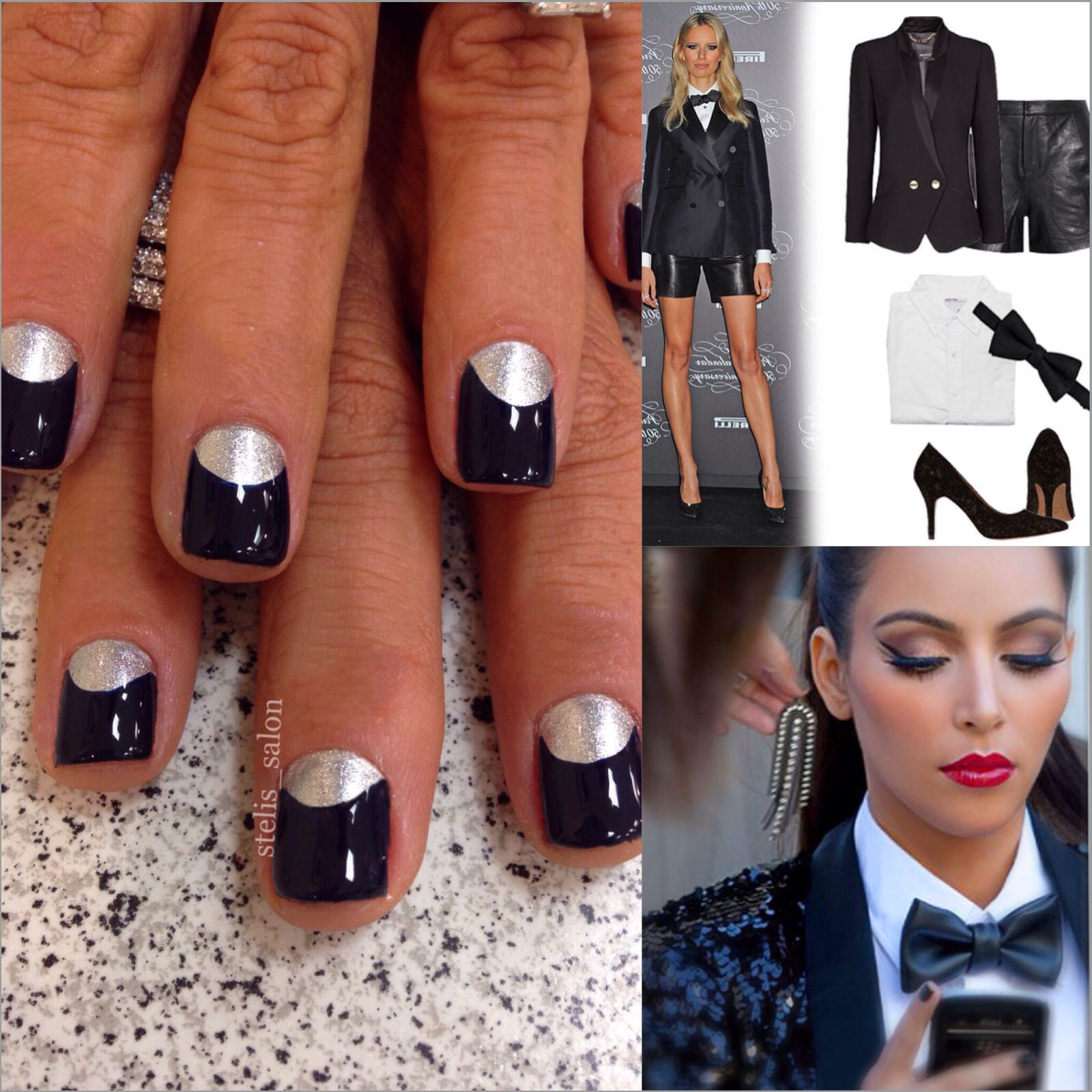 This Steli\'s moon manicure reminded us of a tuxedo which got us ...