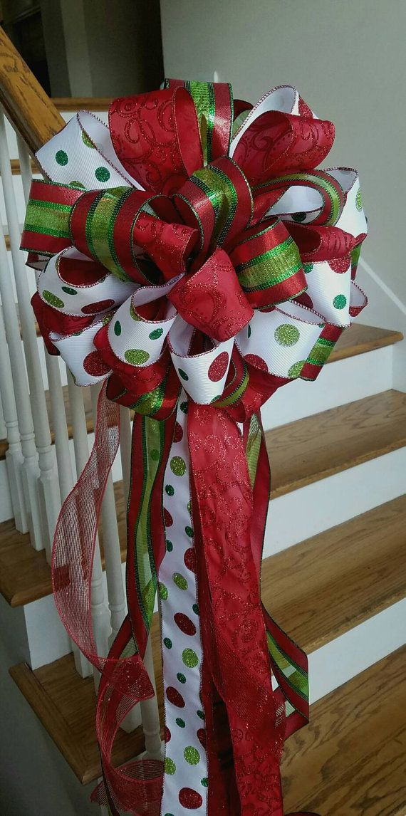 Red Christmas Tree Topper Large Tree Bow Holiday Tree Topper Polka Dot Christmas Bow Mailbox Christm Christmas Tree Bows Christmas Bows Holiday Tree Toppers
