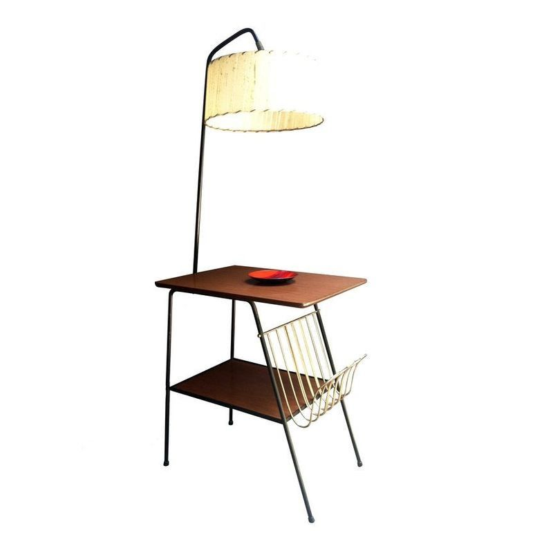 Mid Century Wrought Iron Table Lamp Combo