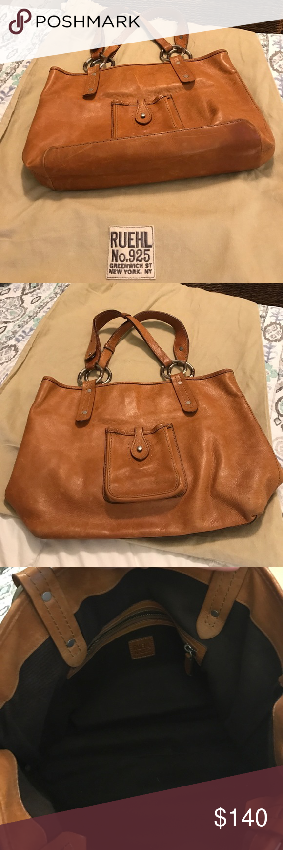 925 Tan All Leather Tote This Is A Classic Ruehl No 18 W X12 H Vintage Great Condition Comes With Dust Bag Bags Totes