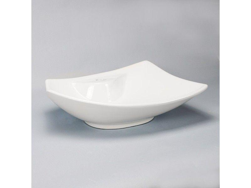 Vasque à poser avec plage de robinetterie céramique - 48x38 cm - evier cuisine ceramique a poser