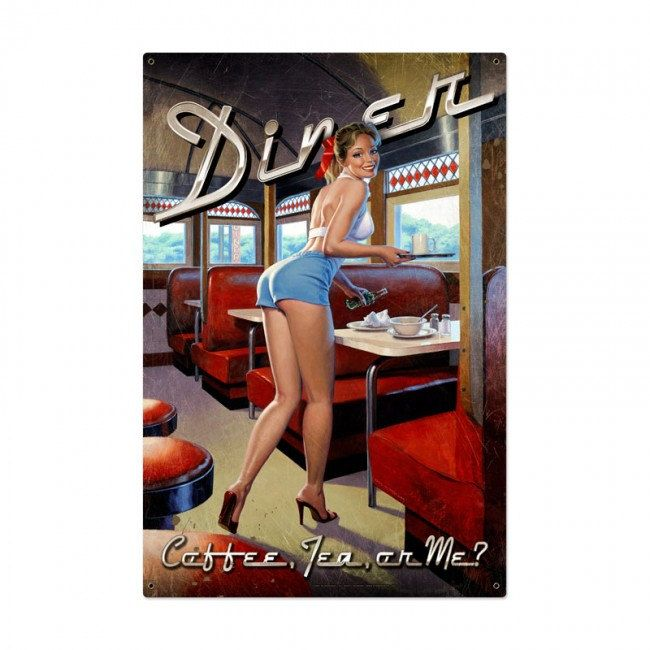 Diner Pin Up Girl advertising metal sign, vintage style home decor wall art, FREE Shipping by HomeDecorGarageArt on Etsy