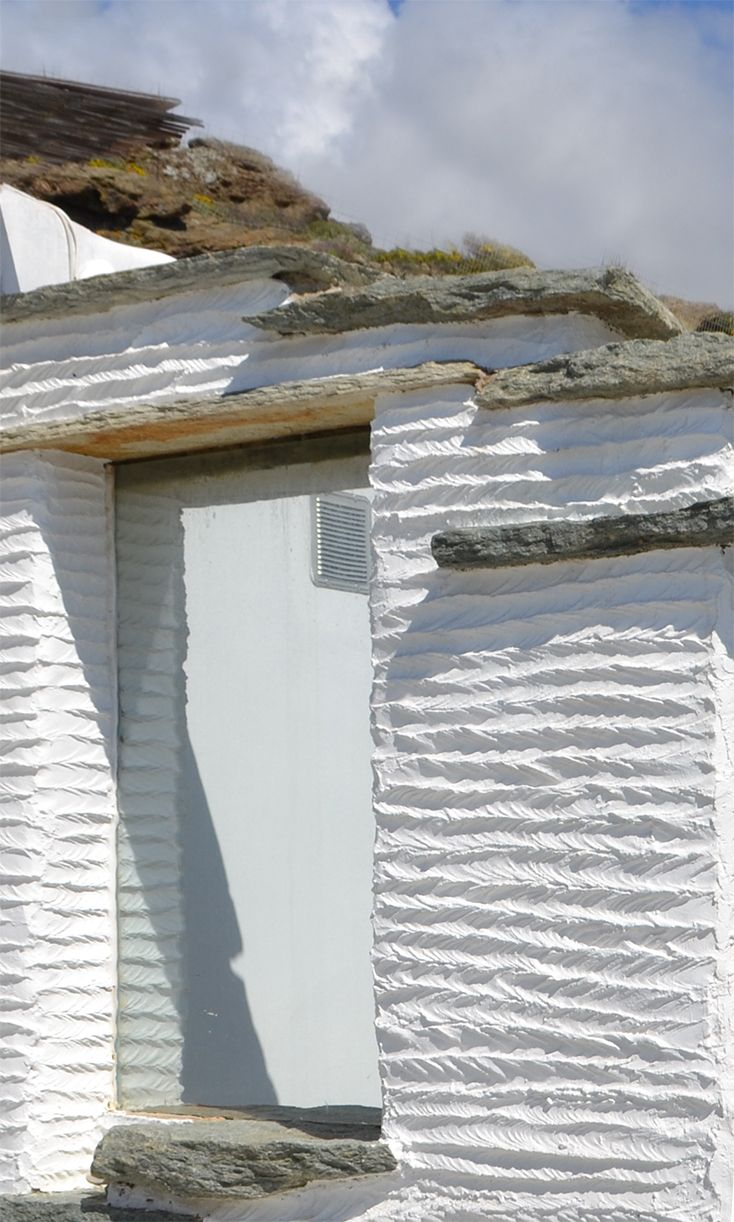 """Sardela"" (sardine, in Greek) paint technique, by A&T Kontodimas Architects #tinos #design #greece #architecture #cyclades #greek #texture www.feggeratinos.com"