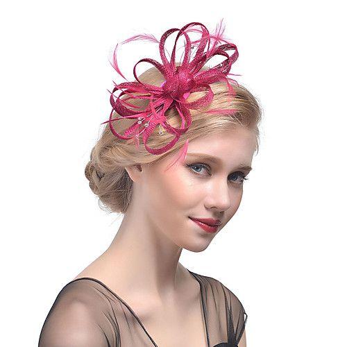 Tulle   Rhinestone   Feather Headbands   Fascinators   Headwear with ... 5fa7954ef72