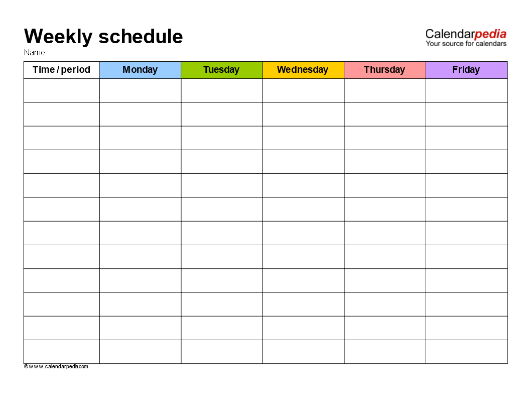 Free Weekly School Schedule Template