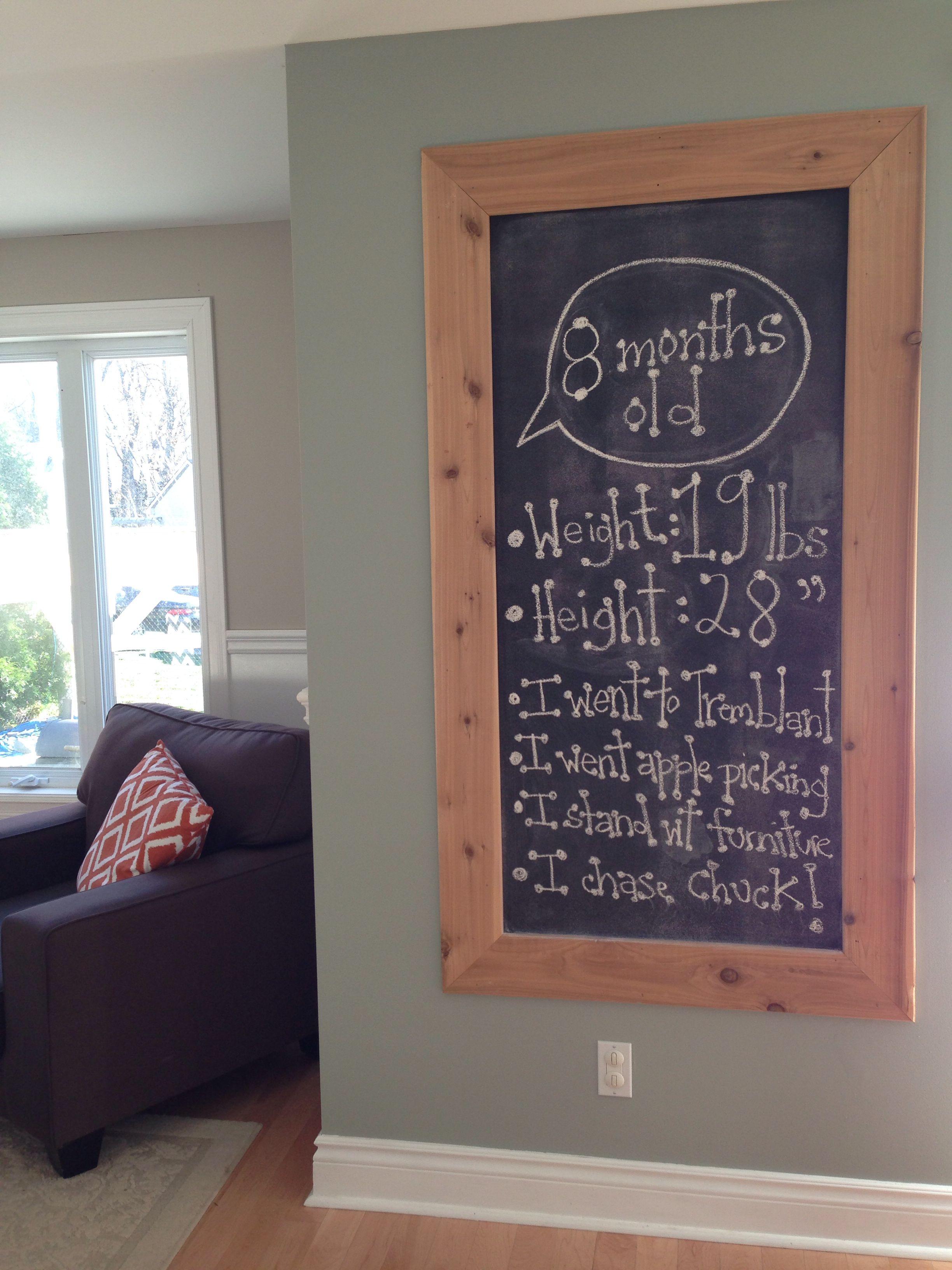 Oversized Blackboard Chalkboard Paint Cedar Frame Monthly Milestones For Baby Oyster Bay Huang Williams