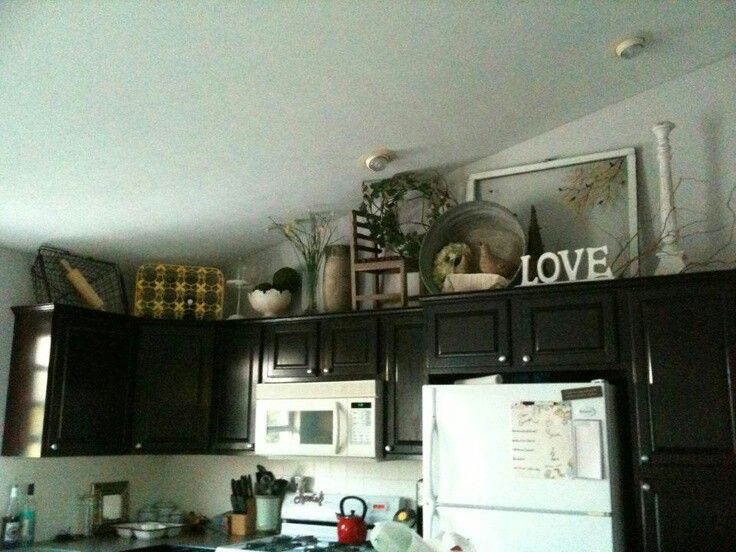 Decor for top of cabinets | Cozy kitchen | Pinterest