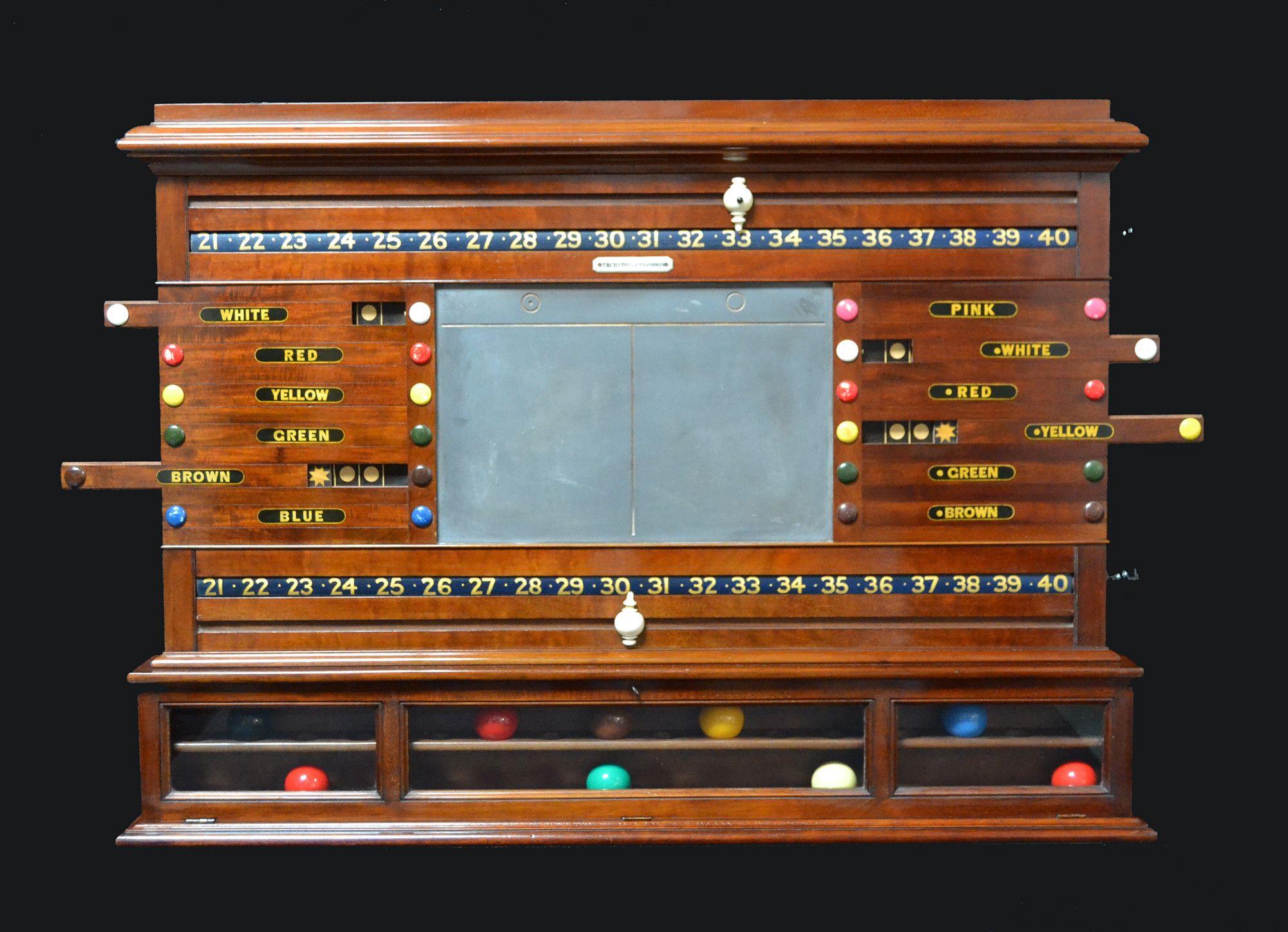 A Mahogany wall mounted scoring cabinet circa 1870 - Billiard Room Ltd