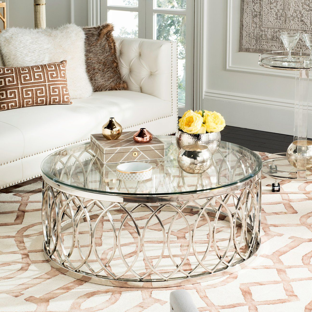 Amh8318b Safavieh Coffee Table Solid Wood Coffee Table Glass Coffee Table [ 1200 x 1200 Pixel ]