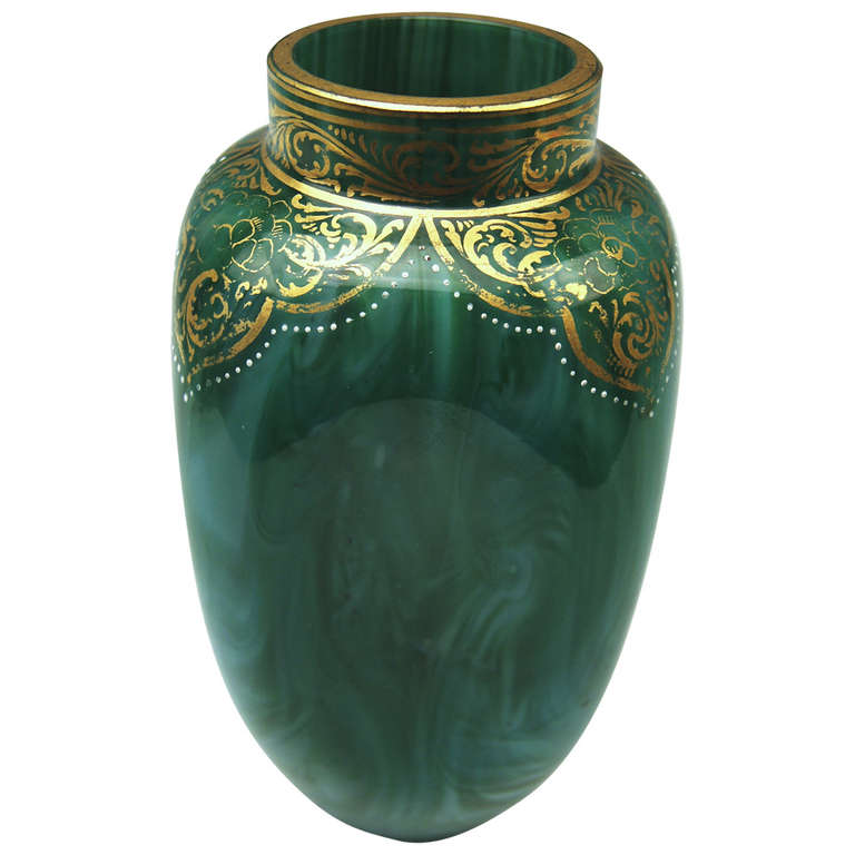 Loetz Widow Klostermuehle Bohemian Art Nouveau Early Vase circa 1893 Decor Malachit | From a unique collection of antique and modern glass at http://www.1stdibs.com/furniture/dining-entertaining/glass/