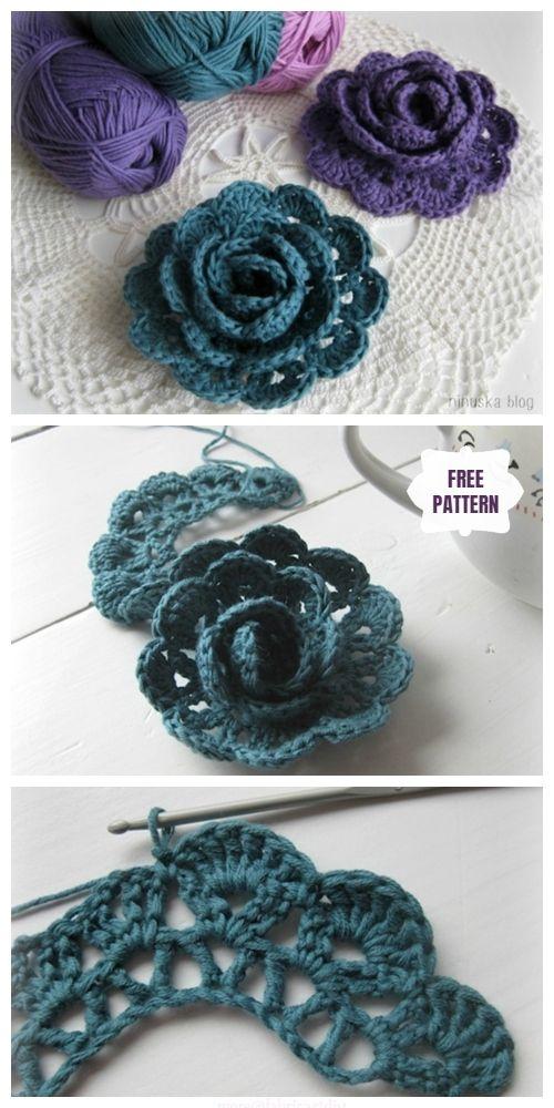 Crochet Pretty 3D Lace Rose Free Pattern #crochetflowers