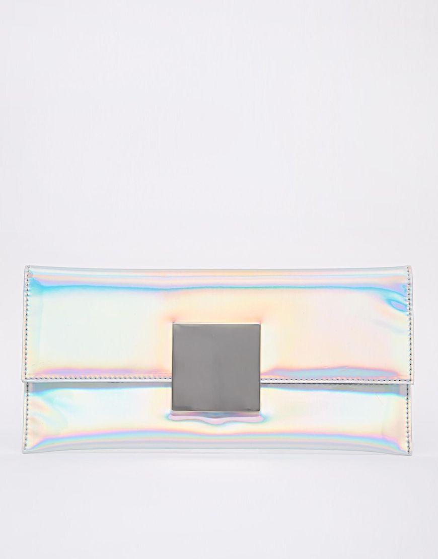 ASOS - Pochette effet hologramme avec attache carrée at asos.com