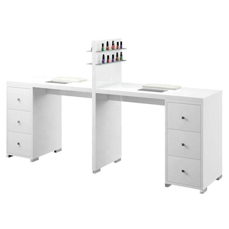 2019 的 Double white nail desks manicure tables nail bar stations ...