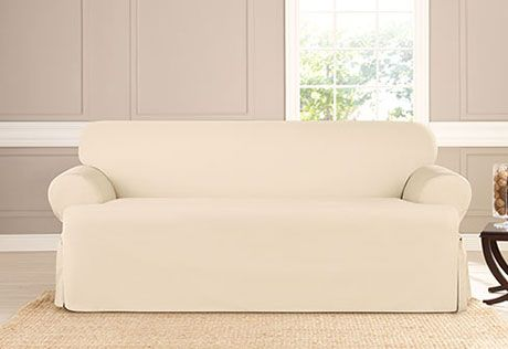 Heavyweight Cotton Duck One Piece Sofa Slipcover Family