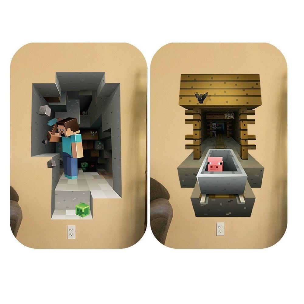 Minecraft vinyl wall decals kids bedroom stickers decor