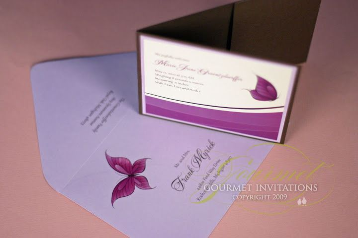 Lora's Butterfly Baby Announcements - Gourmet Invitations Blog: June 2010