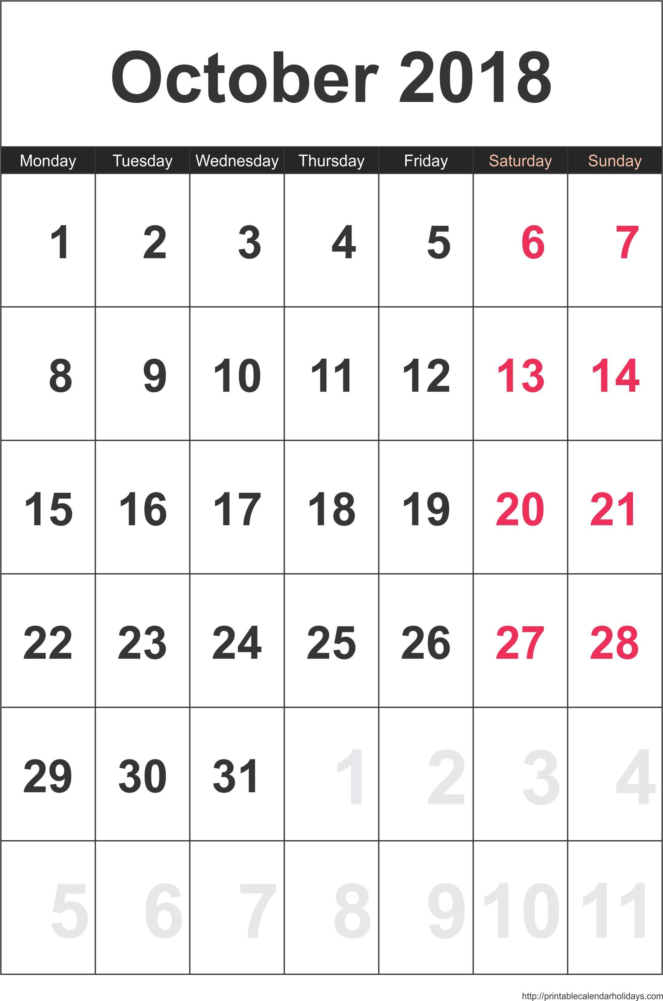 October  Family Calendar Printable   Printable Calendars