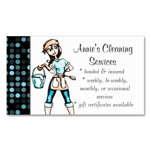 Home Design Business Ideas: Cleaning Services Lady Business Card Blue