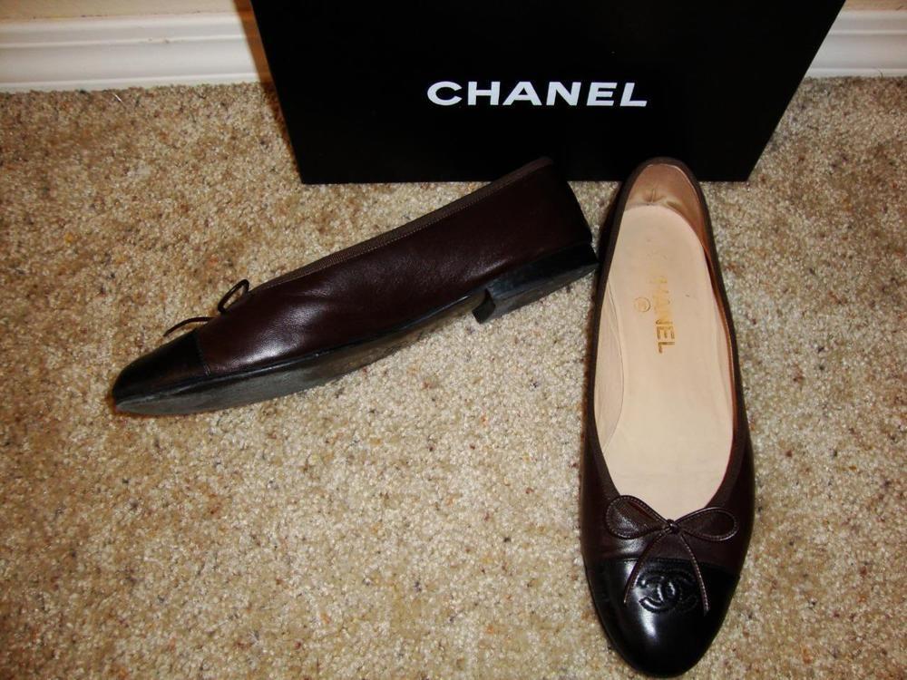 "Chanel Classic Brown Leather ""CC"" Logo Ballerina Flat Shoes 10 M $550 #Chanel #Ballerinas #flat #chanelshoes #shop #fashionblogger"