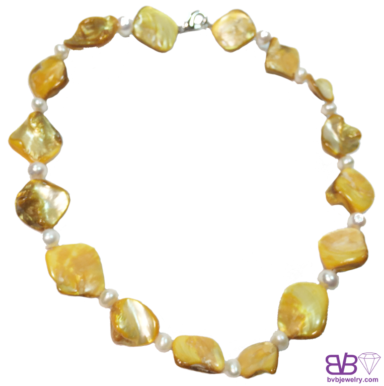 Elegant 67mm Freshwater Pearls And Yellow Seashell 16necklace With
