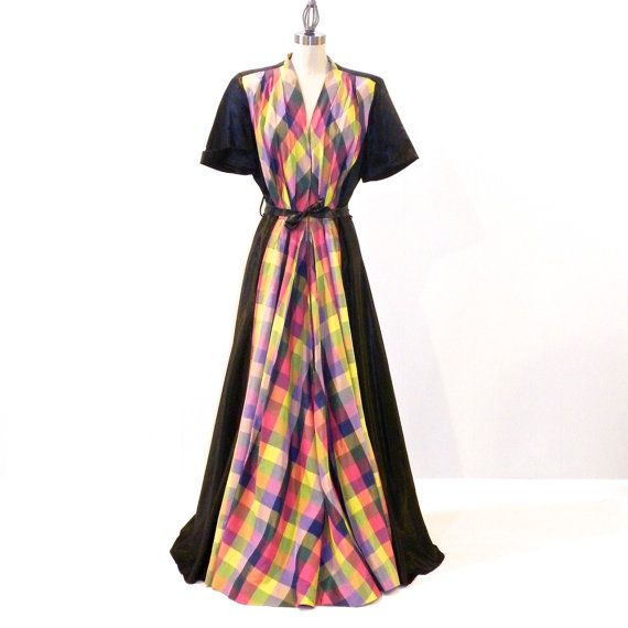Image result for multicolor plaid gown