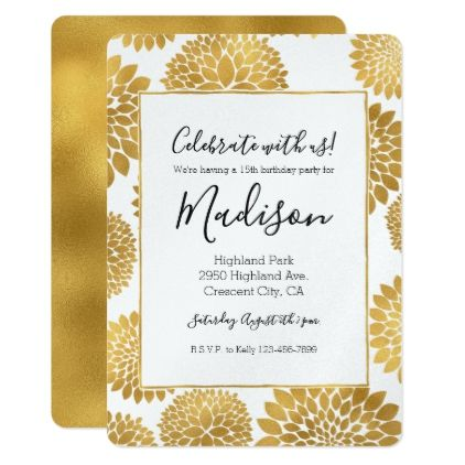 Chic gold flowers birthday card flower birthday and flower negle Image collections