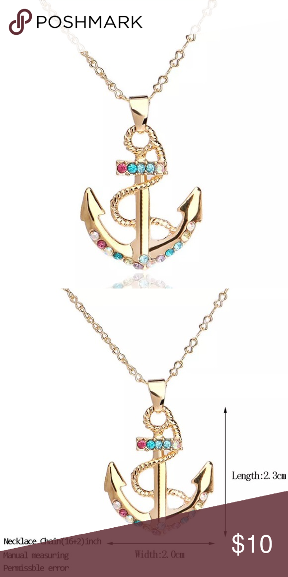 Crystal Anchor Charm Necklace NWT | Thin gold chain, Anchor charm ...