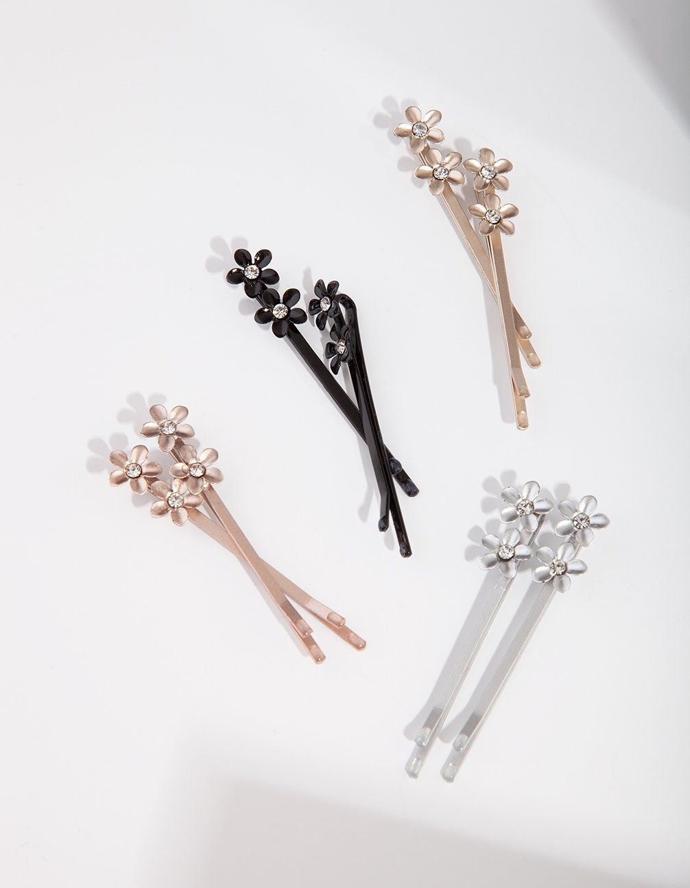 New Beautiful Gold Plated Flower Clear Gem set Hair Clip Pin Barrette