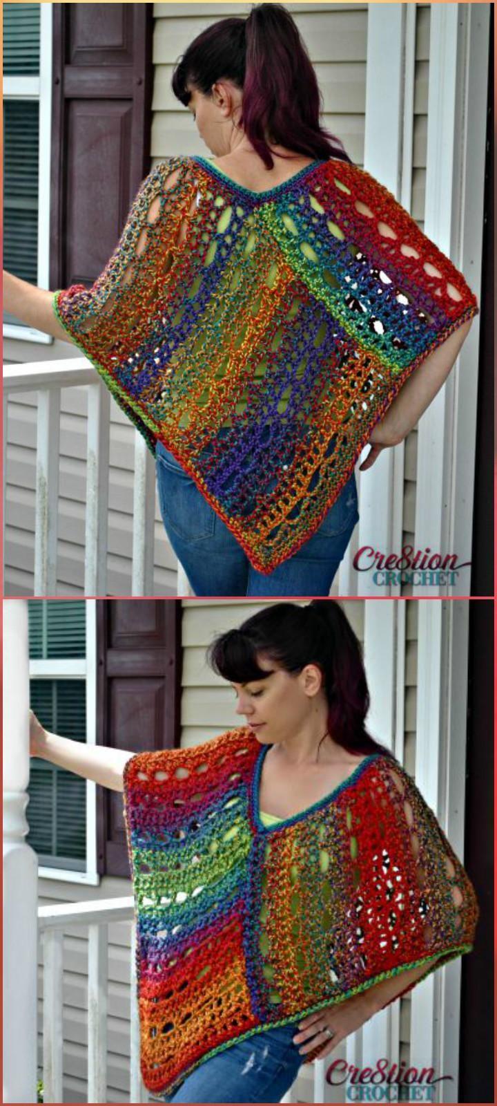 50 Free Crochet Poncho Patterns for All | Free crochet poncho ...