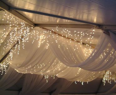 lighted tent draping - like the integration of icicle lights throughout & Great idea to use tree branches as supports and twigs to hang here ...