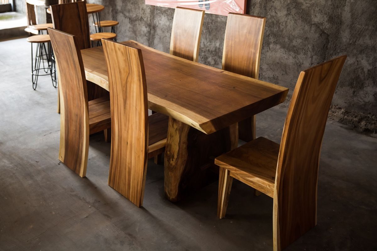 Balinese Furniture Suar Slab Handmade Dining Table With 6 Suar Dining Chairs Great For Either Indoors Or Outdo Bali Furniture Furniture Handmade Dining Table