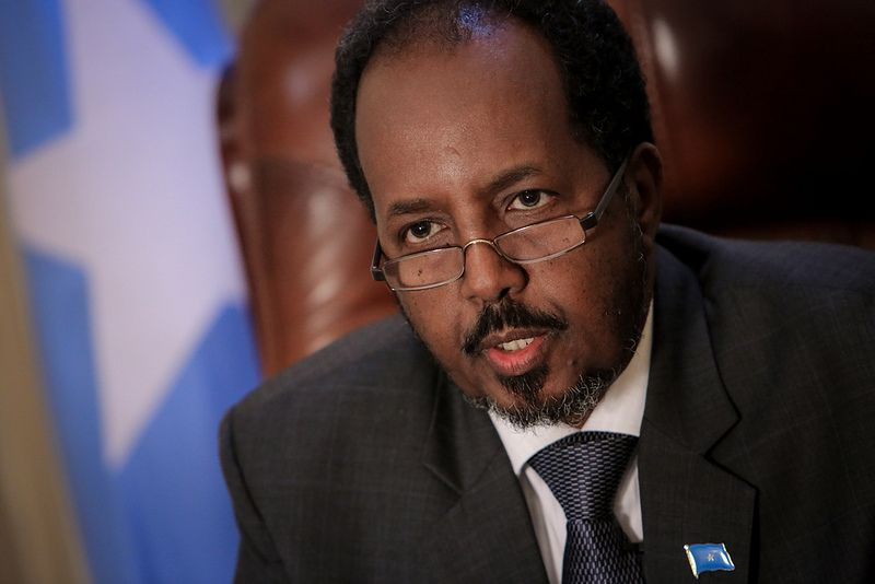 Somali President Hassan Sheik Mohamud is seen in his presidential