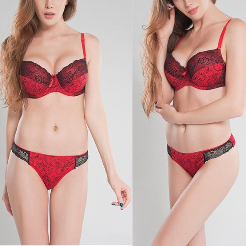 4903656042963 Lady Retro Women Sexy Lingerie Floral Women Underwear Bra+Panty Crop Top  Corset Lace Padded Push Up Bra 34 36 38 40 Cup D E  sweet  ootd  fashion   instalike ...