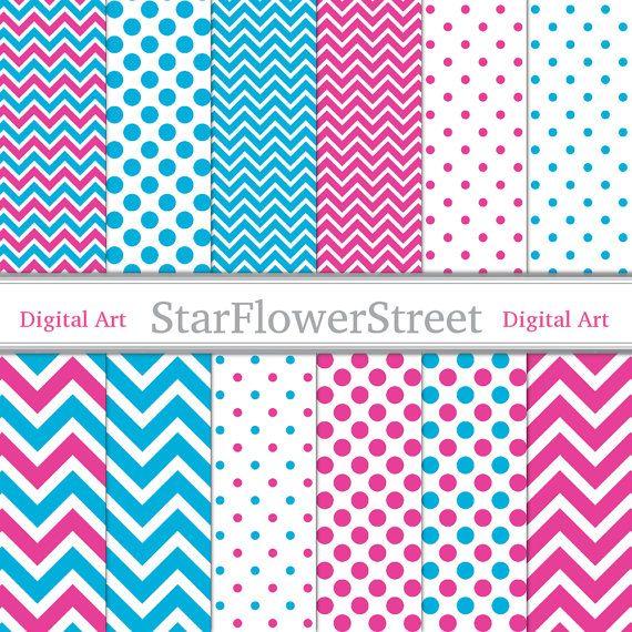 Pink Blue Digital Paper Instant Download by StarFlowerStreetDA