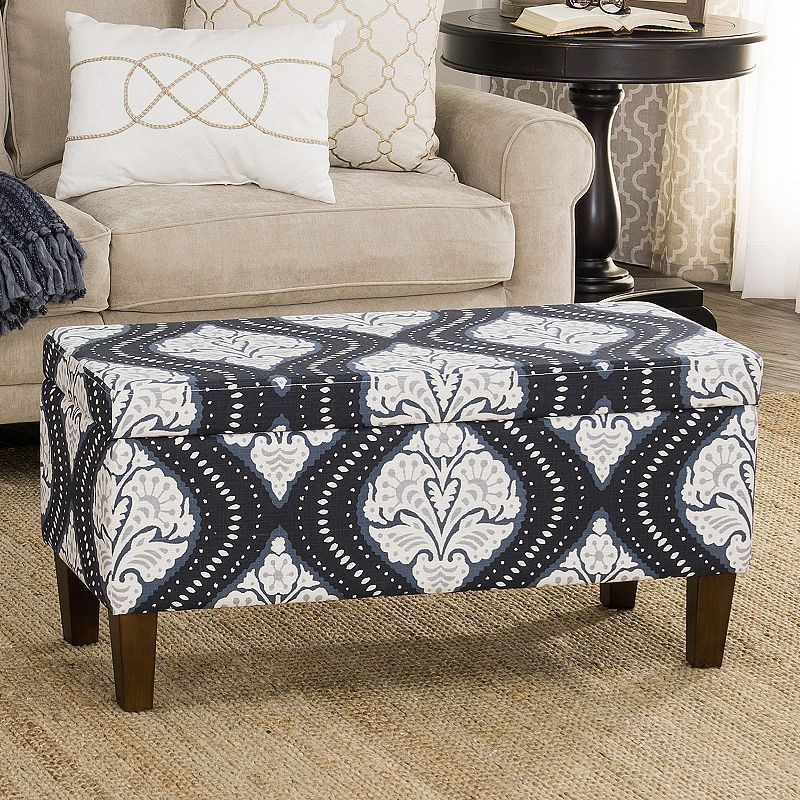 Awesome Homepop Bailey Printed Storage Ottoman Bench Products Caraccident5 Cool Chair Designs And Ideas Caraccident5Info