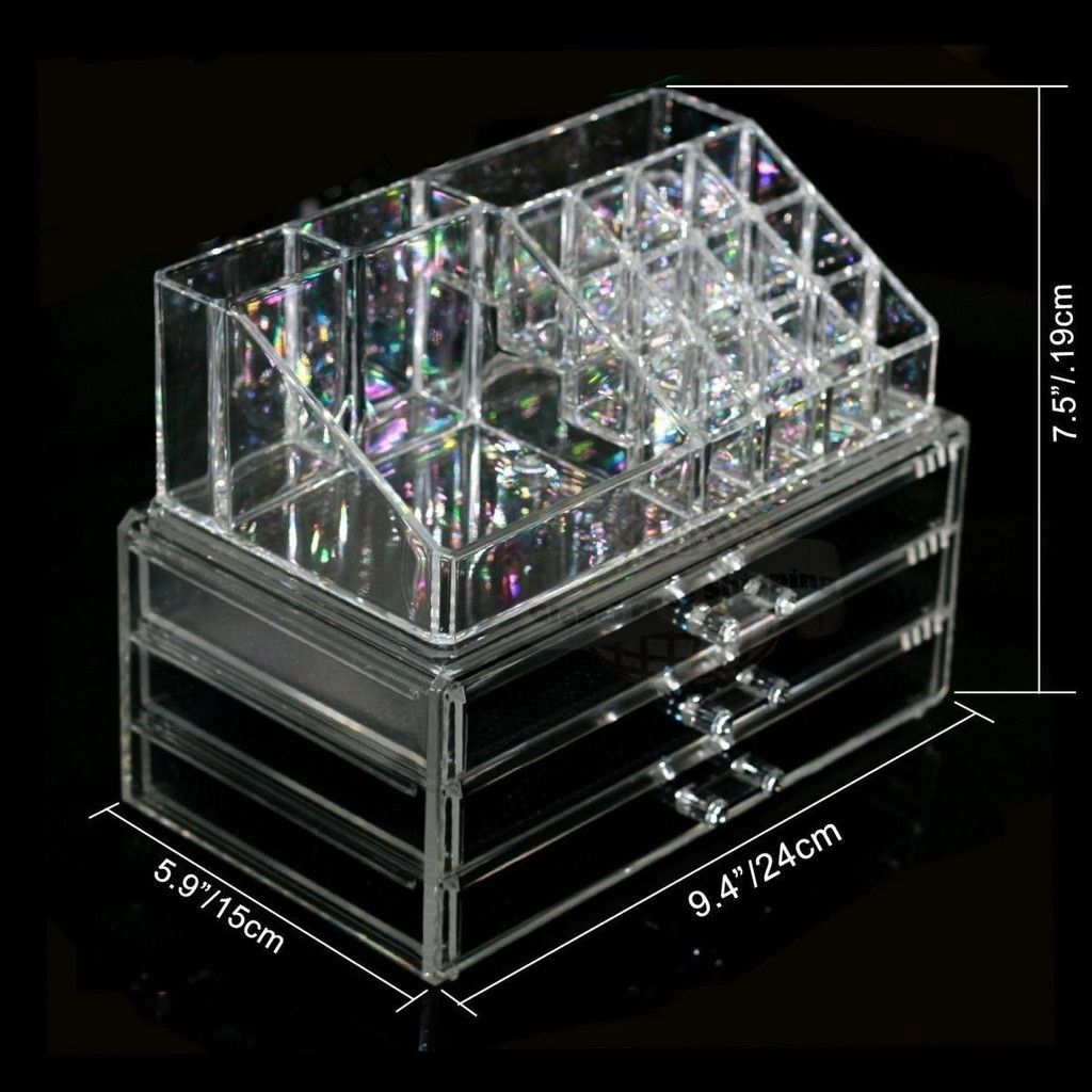 Makeup Cosmetics Jewelry Organizer Clear Acrylic 3 Drawers Display