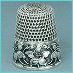 Antique Sterling Dogwood Thimble Waite,Thresher*C1890