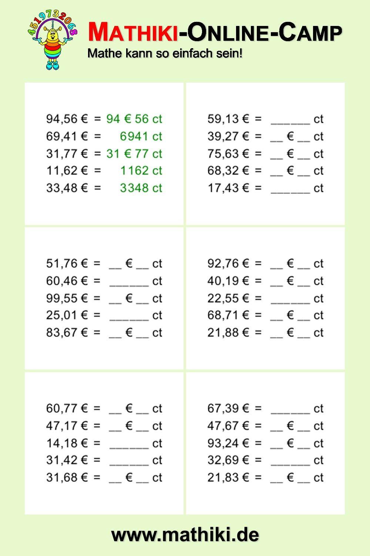 mathematik rechnen mit geld