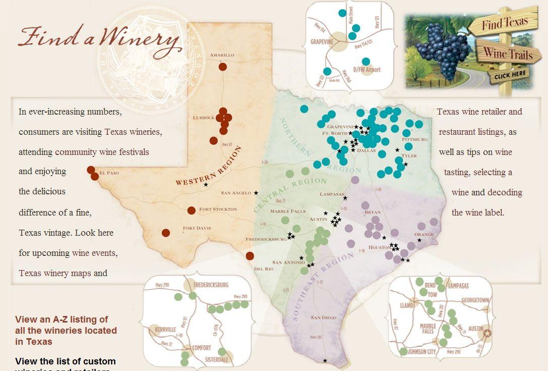 Map Of Texas Wineries.Texas Wine Regions Map Wine Regions