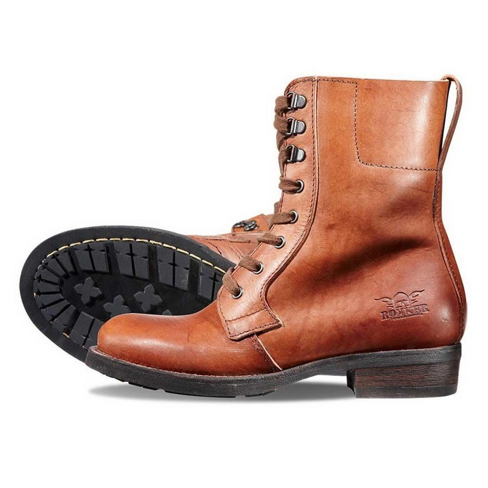 rokker urban racer womens boots - brown | motorcycle footwear