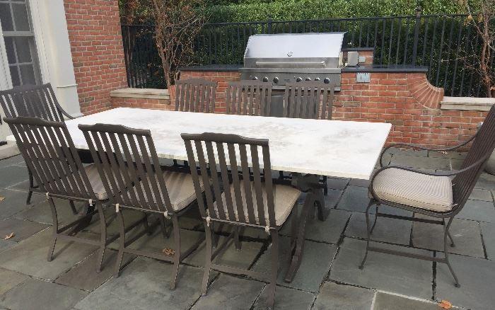 NET McKinnon Harris Stone Top Outdoor Dining Table On Metal Base