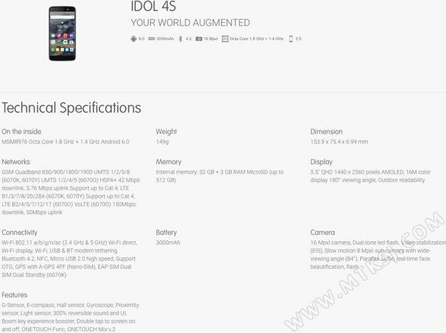 Novedad: Se filtran las especificaciones del Idol 4 y del 4S antes del MWC