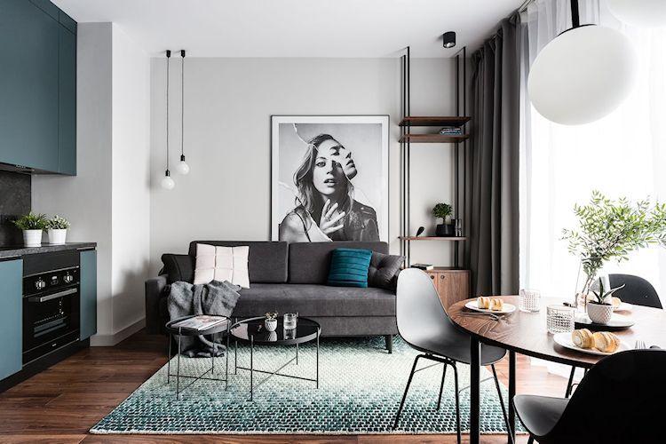 Departamento moderno y masculino de 38 metros² Diseños Pinterest - diseo de interiores de departamentos
