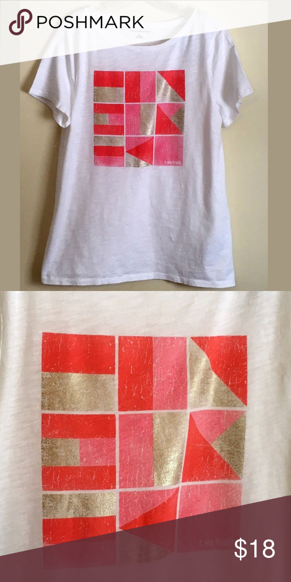 34cd4de0c Tommy Hilfiger White Coral Graphic Tee Top L XL 🛍 Final price reduction -  no offers accepted unless bundled Color  White with Coral