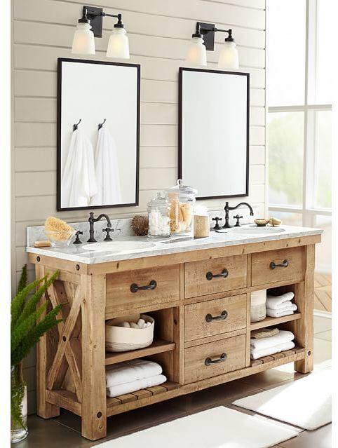 Benchwright Reclaimed Wood Double Sink Console Wax Pine