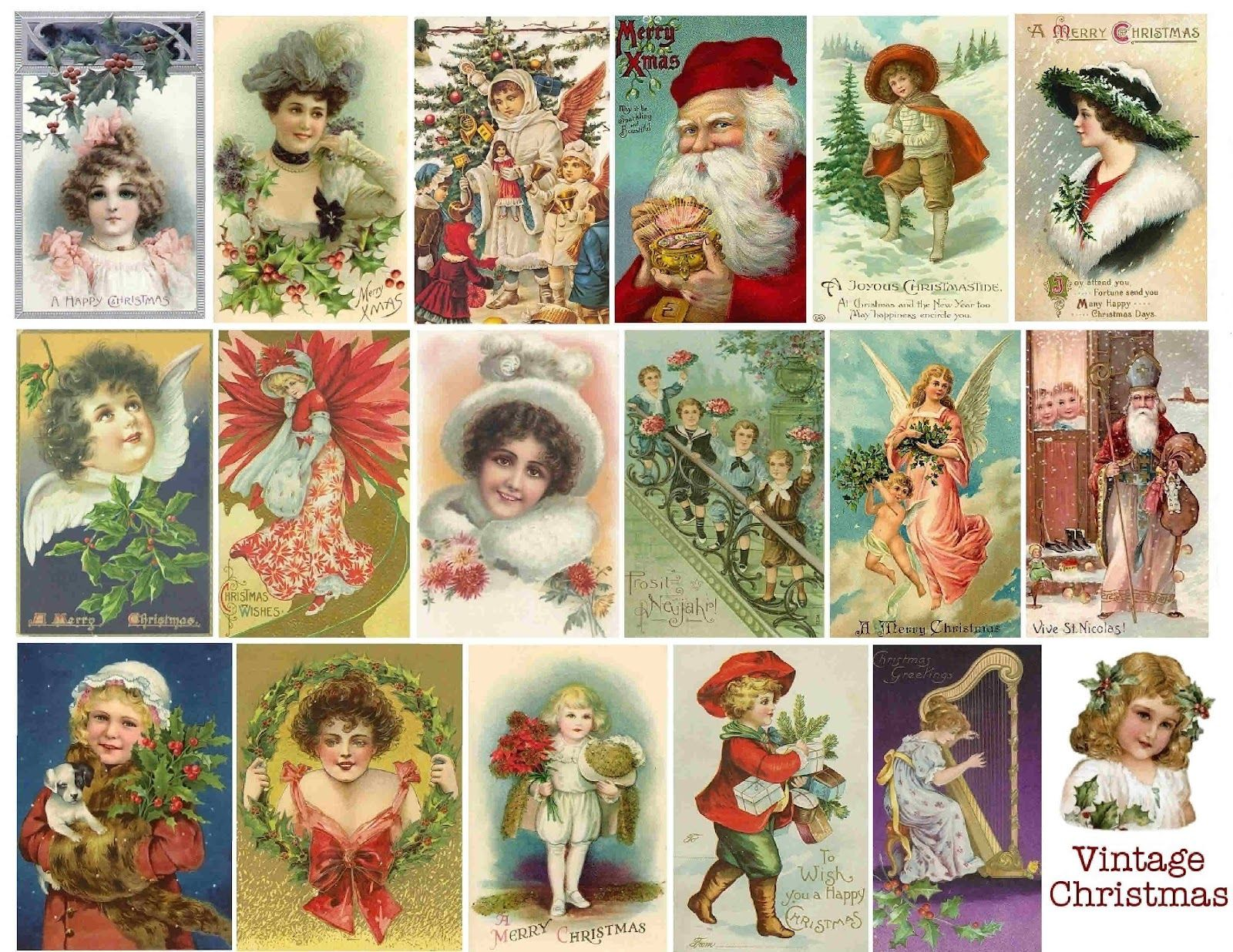 Stampin D Amour Free Vintage Printable Christmas Collage Christmas Printables Christmas Collage Vintage Christmas Images