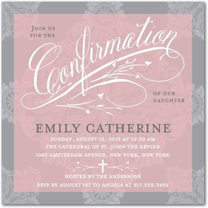 Confirmation Invitations Gracious Lace Front Rose – Confirmation Party Invitations