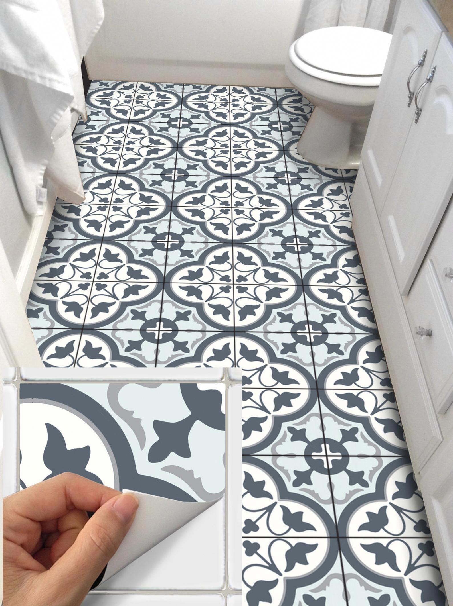 Tile Sticker Kitchen Bath Floor Wall Waterproof Removable Peel N Stick A78q Tile Stickers Kitchen Wall Waterproofing Flooring