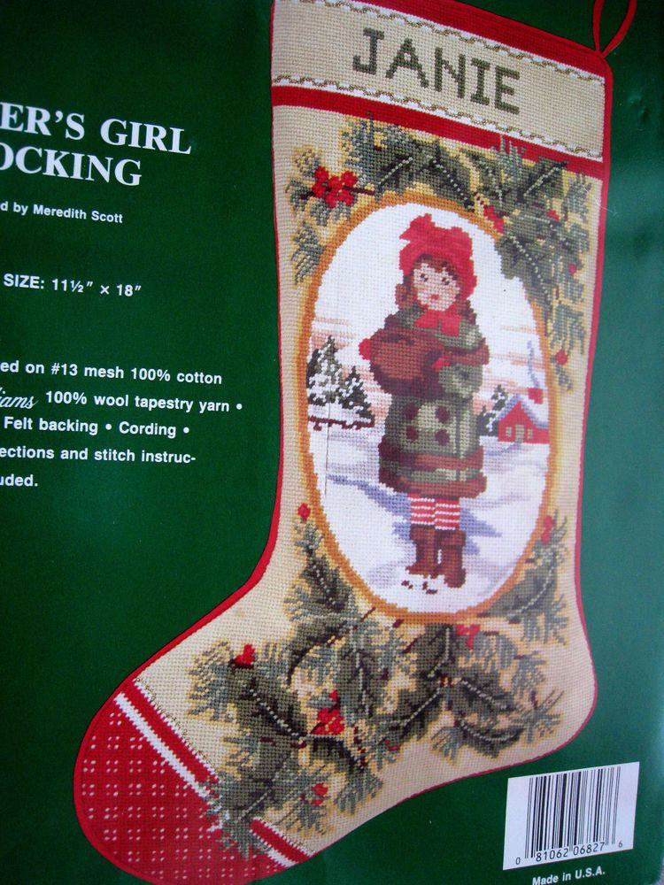 d2ef5209132e3 Needle Treasures Christmas Needlepoint Holiday Stocking Kit,WINTER'S  GIRL,6827 #NeedleTreasures